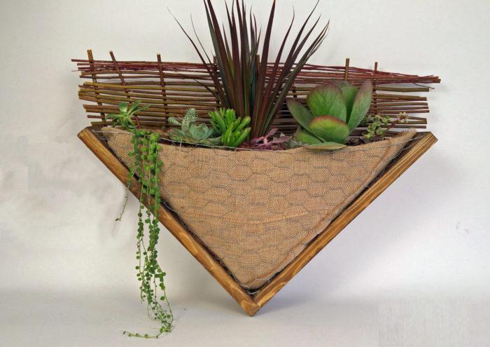Cadre plantes à suspendre, toile jute et succulentes